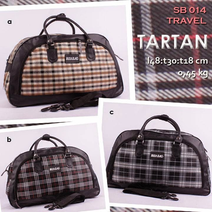 jual travel bag murah motif tartan