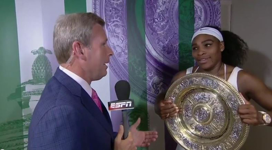 Serena Williams is not only perhaps the best athelete playing today, she may also be the greatest female athlete in history, based on her winning record. (Photo screen captured from YouTube video)