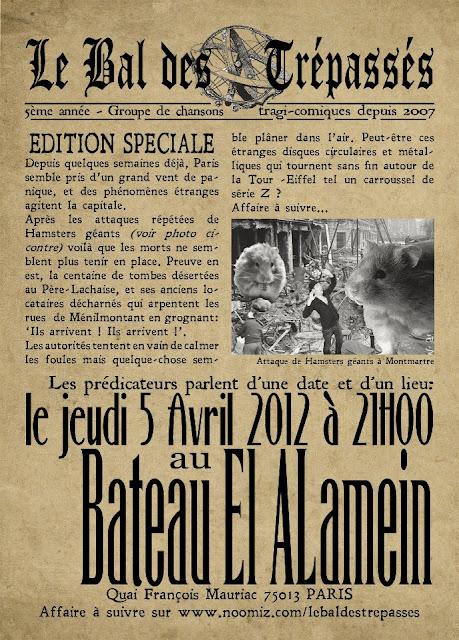 5 avril 2012 sur la péniche El-Alamein, le flyer du Bal des Trépassés