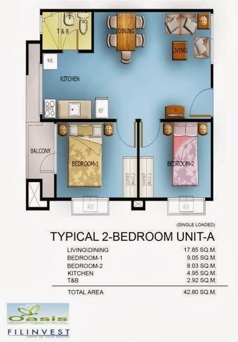 One Oasis Condominium, Ecoland, Davao City 2 Bedrooms