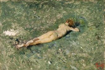Pintura. Desnudo en la playa de Portici de Marià Fortuny
