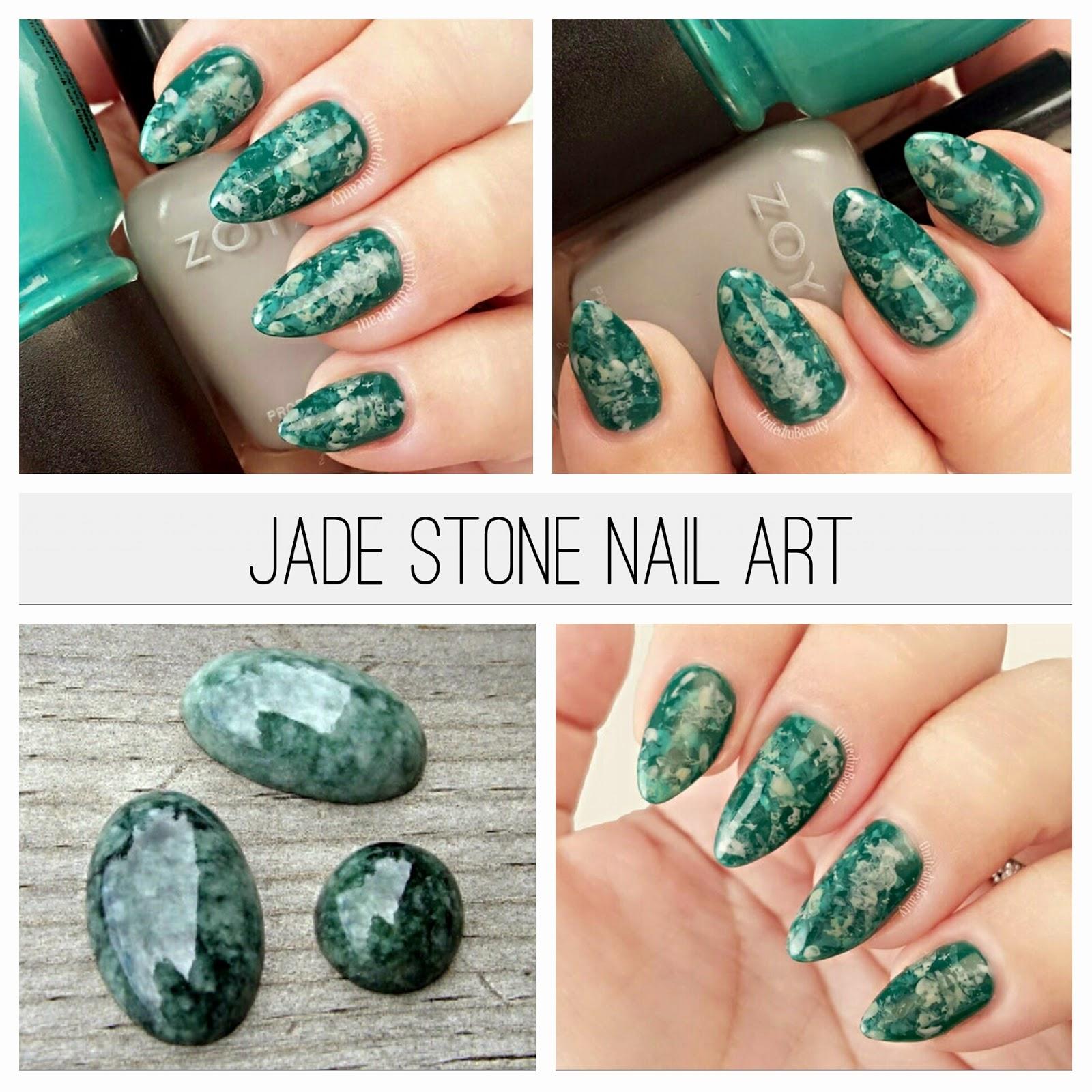 jade stone marble nails by @unitedinbeauty