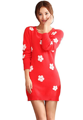 New Design Flower Pattern Christmas Women Fashion Dress Sweater Turtleneck Tunic Autumn Winter Pullover Knitwear