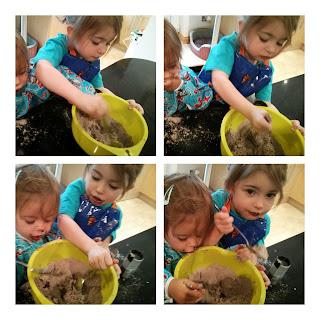 girls making brownies