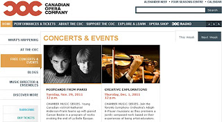 Canadian Opera Company: Concerts: Chamber Music Series: Postcards from Paris, screenshot coc.ca
