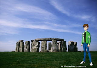Ben Ten Desktop Wallpapers Ben 10 Standing Walking Tall in Stonehenge Stone Monument desktop wallpaper