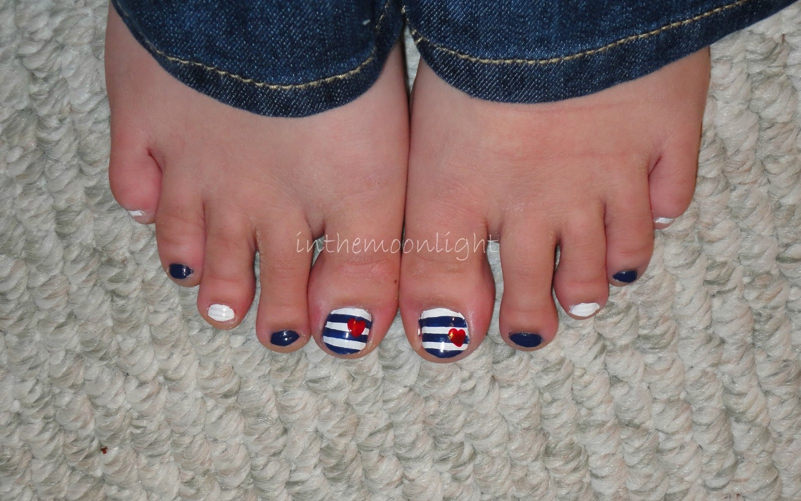Nautical Toes Nailsinthemoonlight