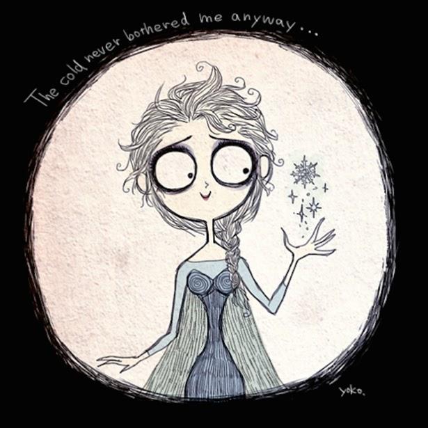 """Elsa de """"Frozen"""" al estilo Tim Burton"""