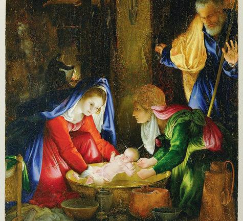 La Nativité par Lorenzo Lotto, huile sur panneau de 1527. / BRIDGEMAN