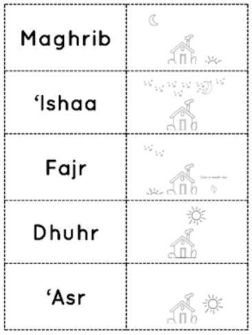 Iman\'s Home-School: 5 Daily Prayers ~ Names and Order Learning Pack