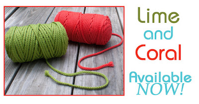 Lime and Coral colored Macrame Cords are HERE!