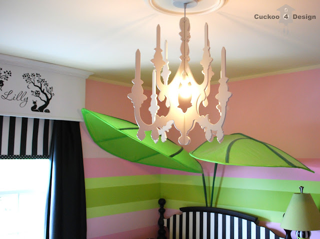 pink girls room with black and white stripes, black and white polka dots, Urban Outfitters faux chandelier