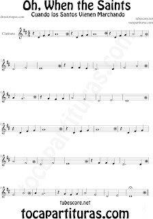 Partitura de Oh When the Saints para Clarinete La Marcha de los Santos Sheet Music for Clarinet Music Scores Cuando los Santos Vienen Marchando