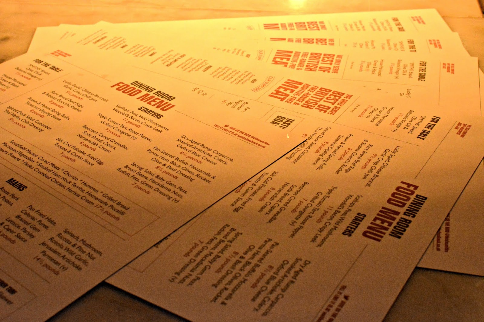 Smiths Spitalfields launch menu