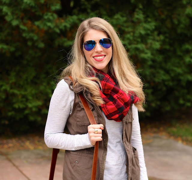 plaid scarf, striped tee, utility vest, jeans, booties