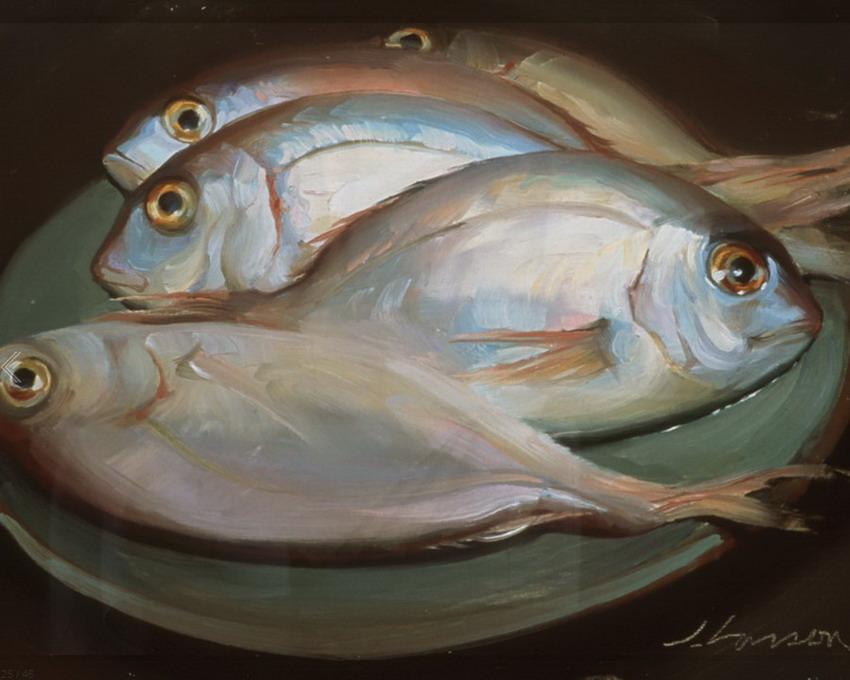 Im genes arte pinturas cinco cuadros de bodegones con - Cuadros con peces ...