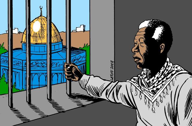 Nelson Mandela prisioneiro na Palestina-Jerusalem- Charge de Latuff