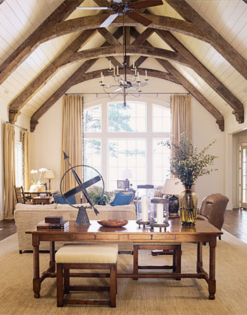 Two woods white painted and natural on pinterest beams for Vaulted ceiling with exposed beams
