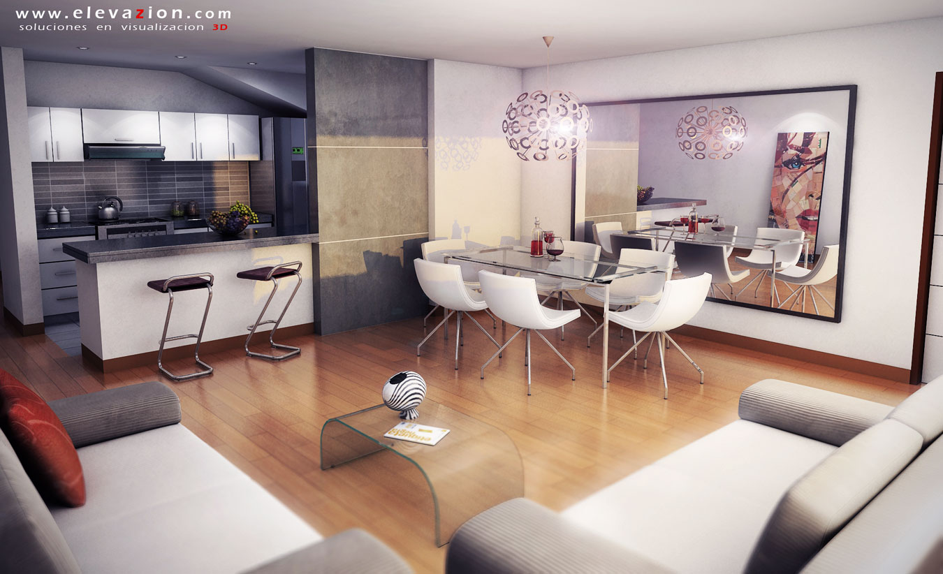Elevazion 3d arquitectura virtual exteriores interiores for Sala comedor kitchenette