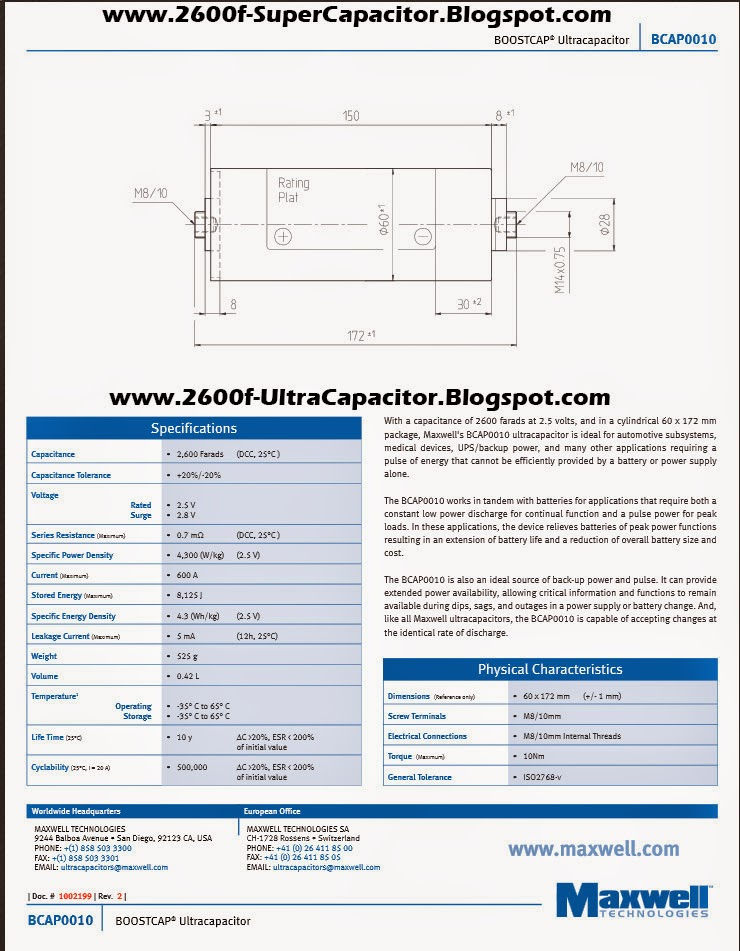 Boostcap BCAP0010 Capacitor Features 2600 Farad Spec Ultracapacitor Dimensions www.2600f-UltraCapacitor.Blogspot.com