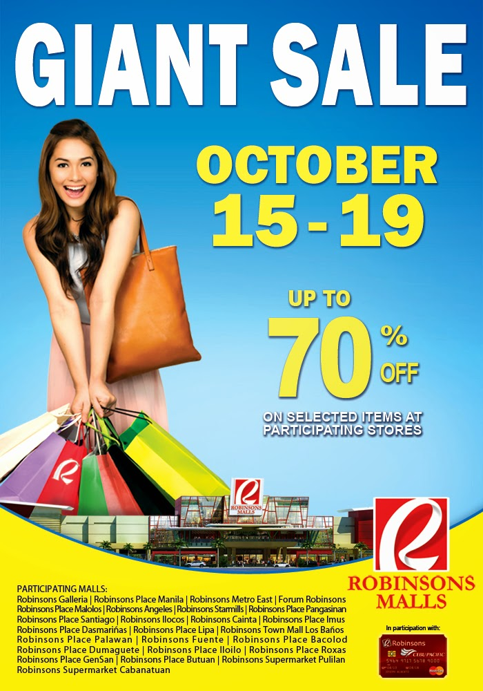 Robinsons Malls Giant Sale October 15-19, 2014
