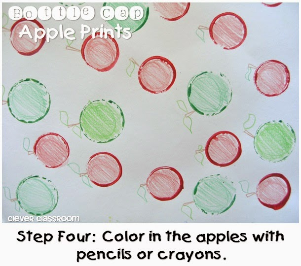 Bottle cap apple prints fall art and craft from Clever Classroom