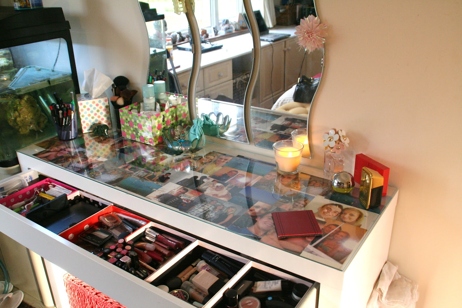 Confessions of a beauty therapist1 my dressing table set up for Glass makeup table
