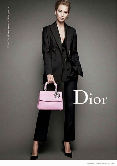 Jennifer Lawrence in the campaign Miss Dior handbags