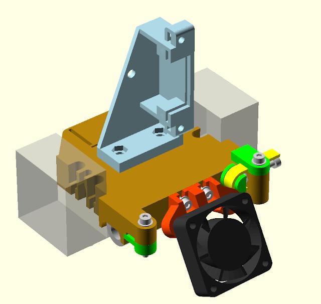 Lasercut Mendel90 Dual Extrusion X Carriage OpenSCAD Render