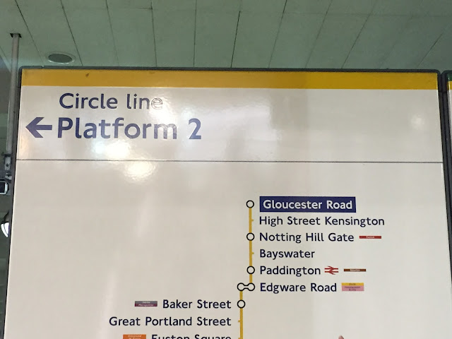 Gloucester Road, Tube Station, Circle Line, Circle Line Sign, Gloucester Road Tube Station, Notting Hill Gate, Platform 2
