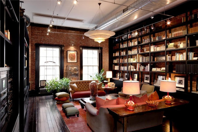 Photo of home library in the Tribeca triplex