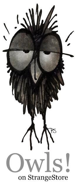 owls, strangestore, funny owls, paul stickland,