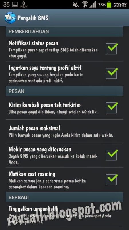 pengaturan aplikasi sms forwarder atau pengalih sms (rev-all.blogspot.com)