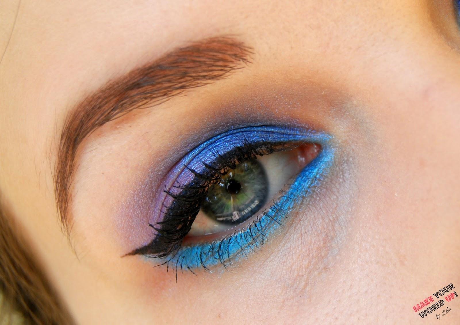 makijaż, niebieski, kreska eyelinerem