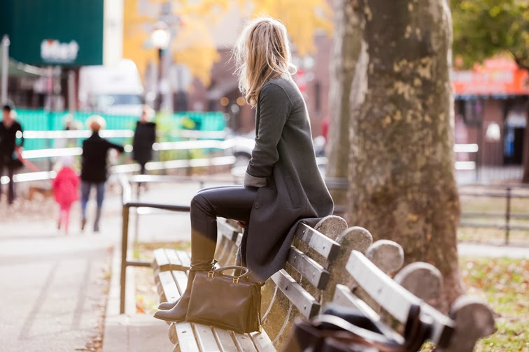 Park bench messy hair vintage leather square bag long coat