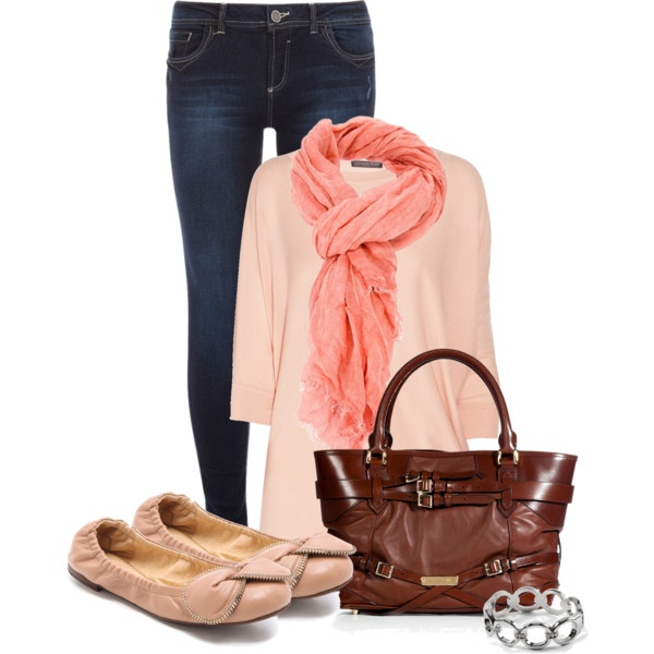 Orange scarf, blue jeans, light shoes and silver bracelet for ladies