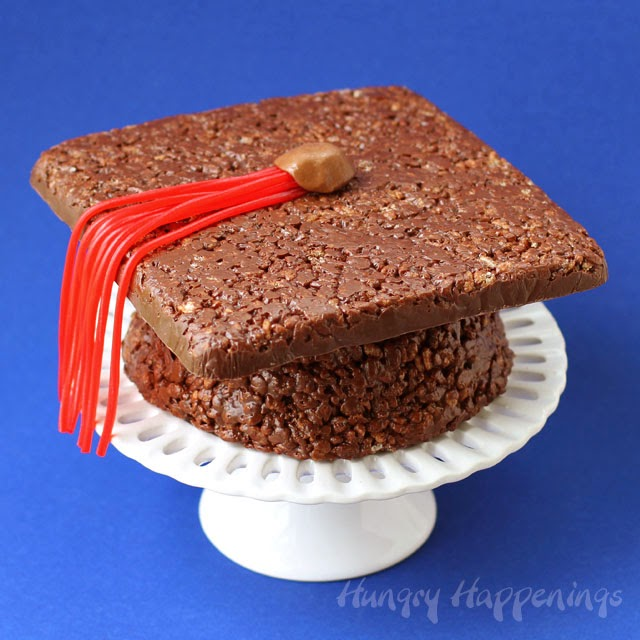 Cocoa Krispies Treat Graduation Cap | HungryHappenings.com