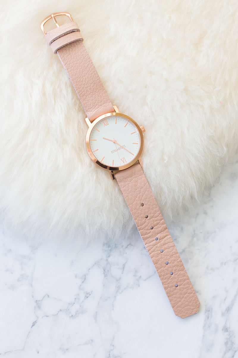 Berg + Betts round face watch in pale pink leather and rose gold