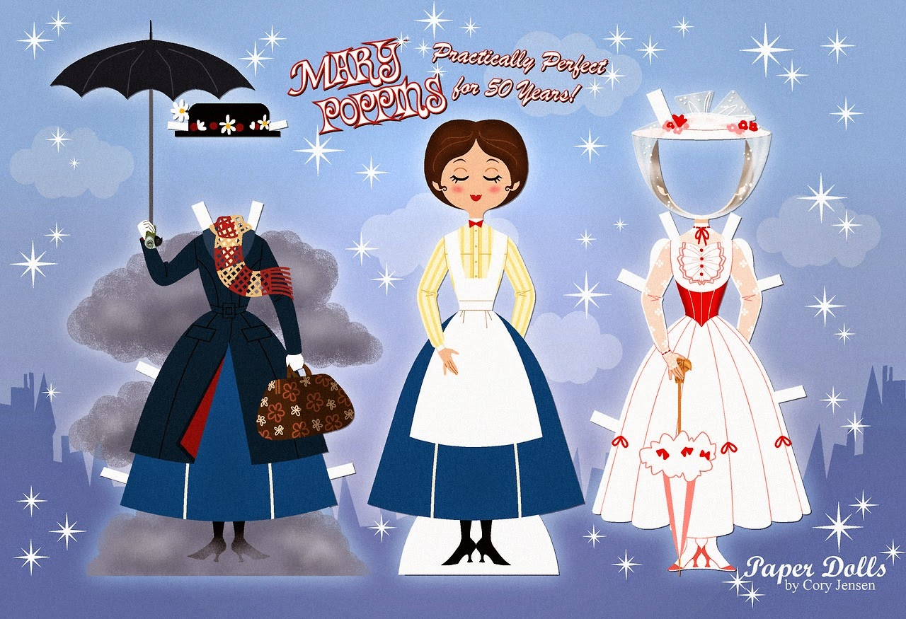 Mary Poppins Recortable para Imprimir Gratis.