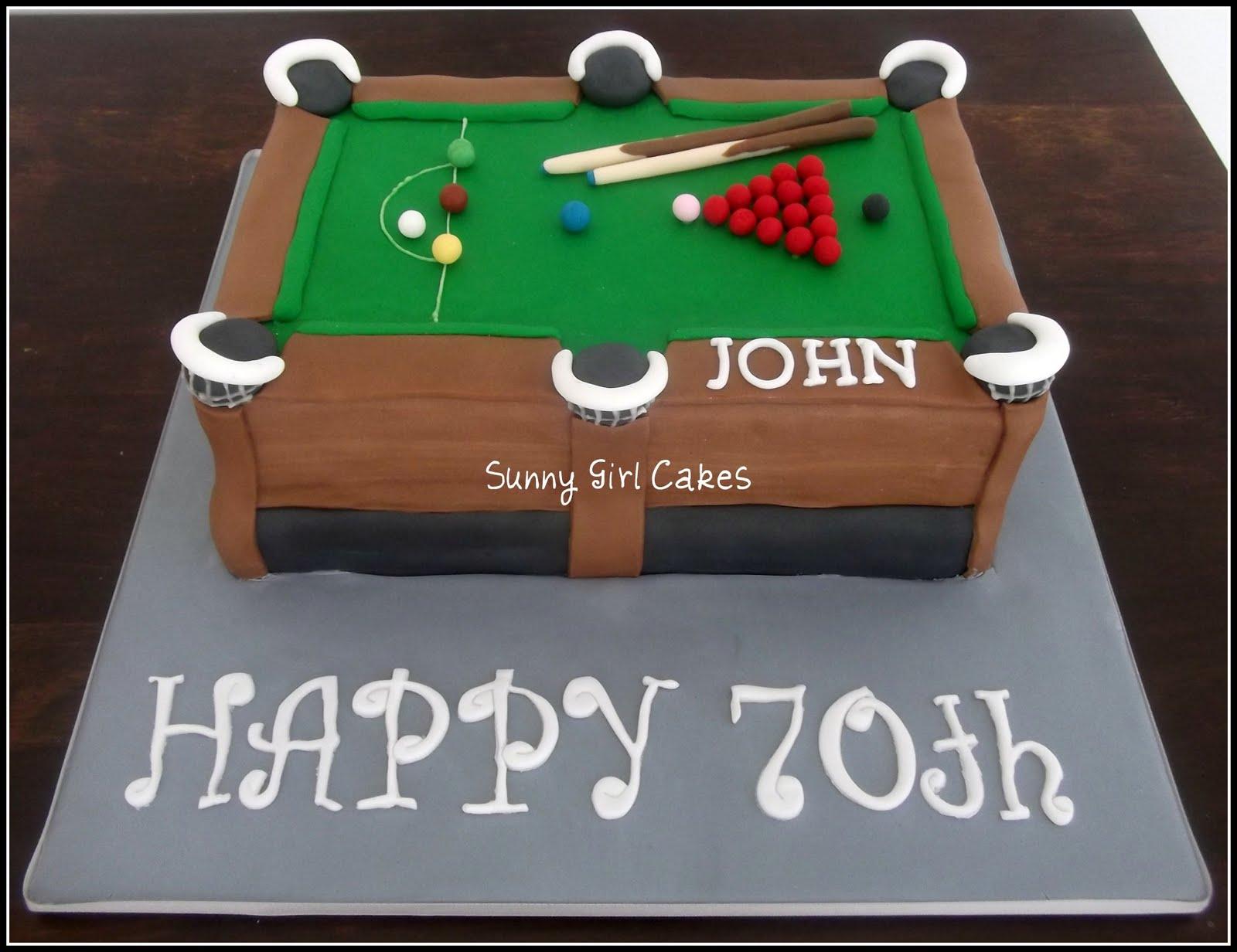 Snooker Cake For Johns 70th Birthday Sunny Girl Cakes