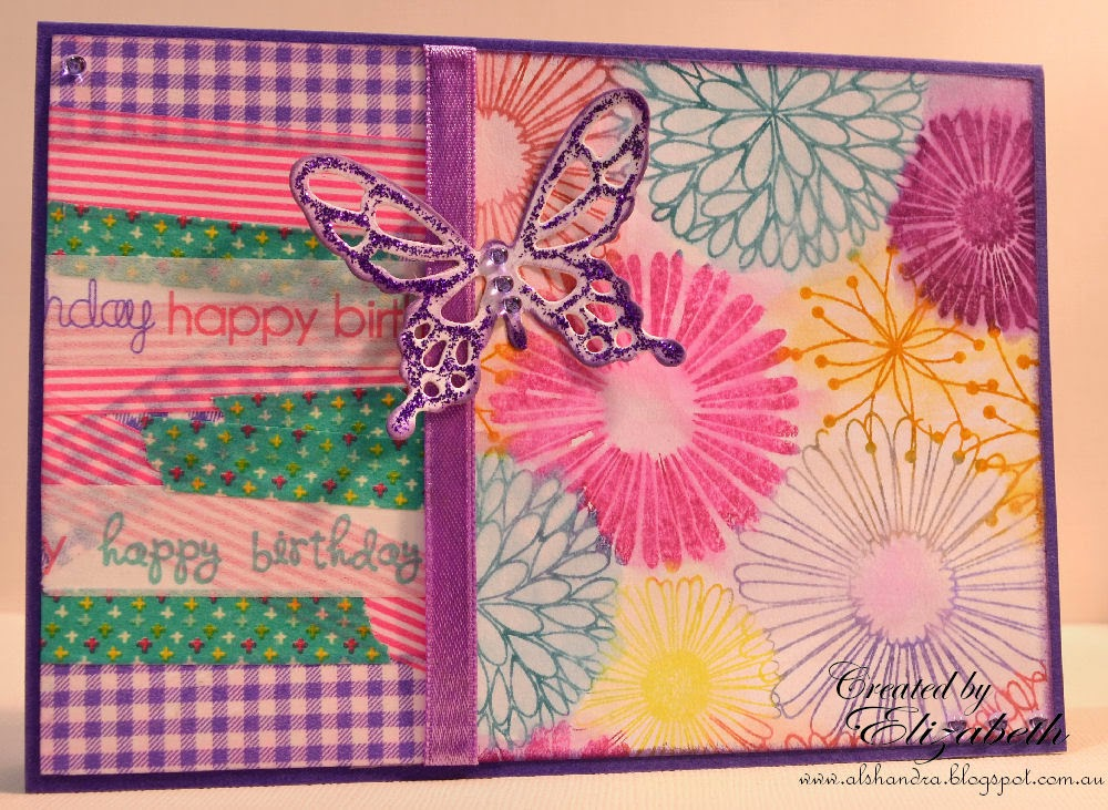 Elizabeth Whisson, Spellbinders Grand Shapeabilities Wonderful Wings, Hero Arts Everything Flowers, washi tape, stickles, distress markers, Annabelle Stamps sprinkles
