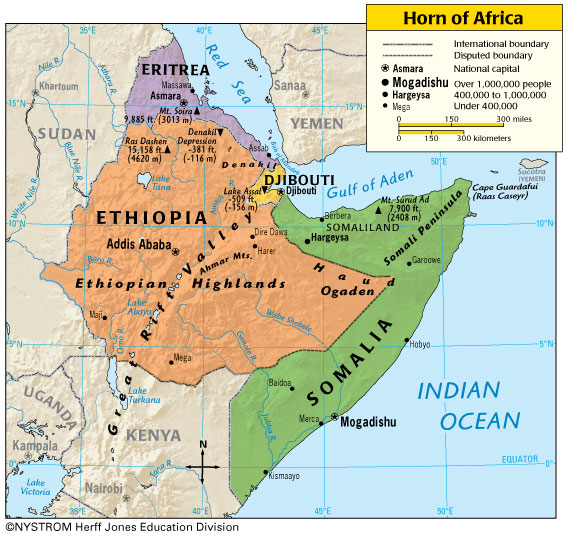 horn of africa map countries