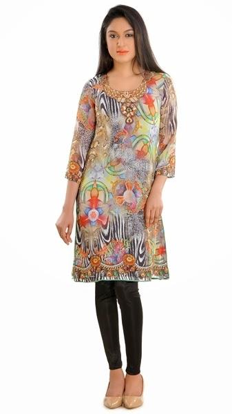 Jewel Prints Kurtis/Tights winter Fashion-14-15