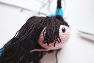 Makea braid for the Amigurumi Kokeshi - Kaguya Hime Doll