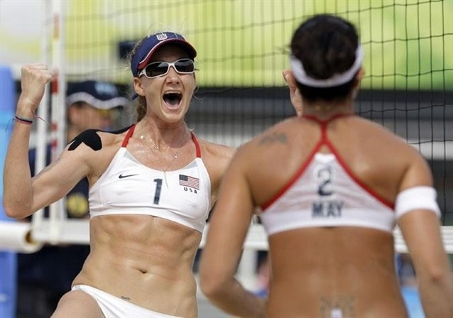 Olympic camel toe takes London - Kerri Walsh shows off her nipples in ...