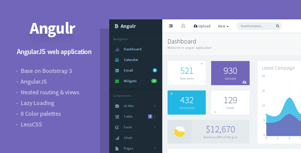 AngularJS Admin Web App Template
