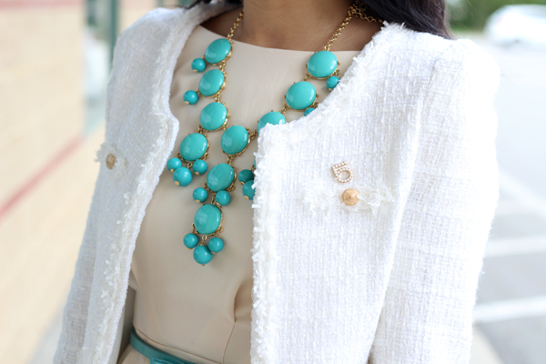 White Tweed & Turquoise Accents