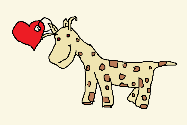 Sketch of a stuffed giraffe, reminiscent of a Beanie Baby.