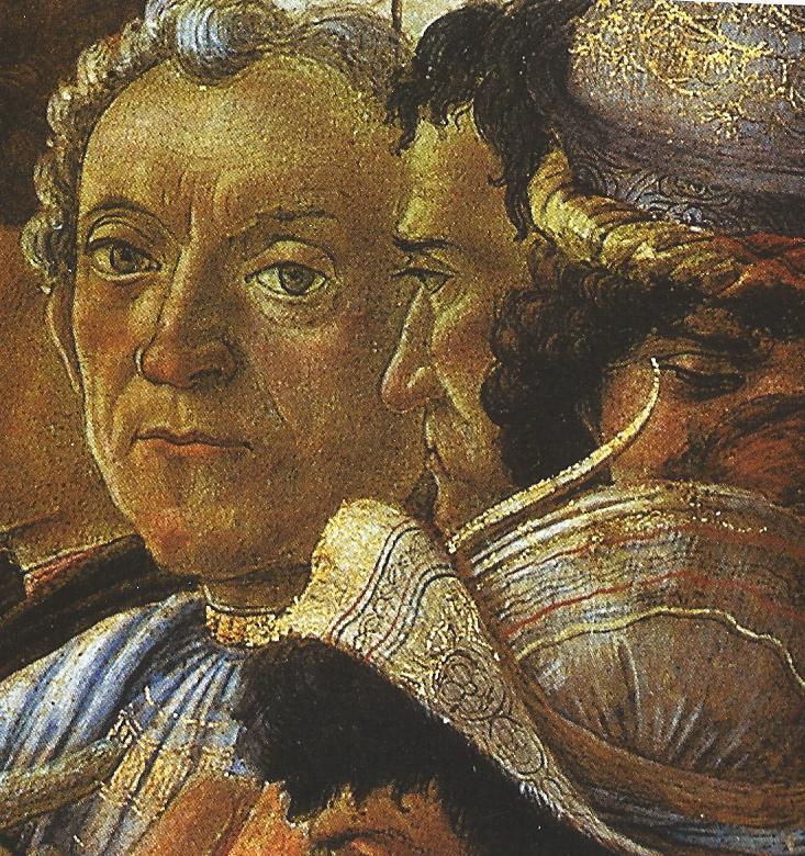 ¿Quiénes son los personajes del cuadro 'La adoración de los Reyes Magos'? Sandro Boticelli, 1475 Guasparre+del+larra