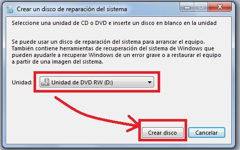 Creación disco de reparacion Windows